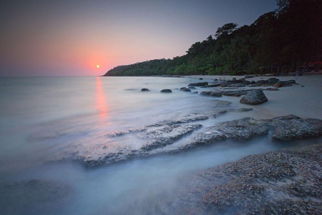 Sunset on beach at Trat