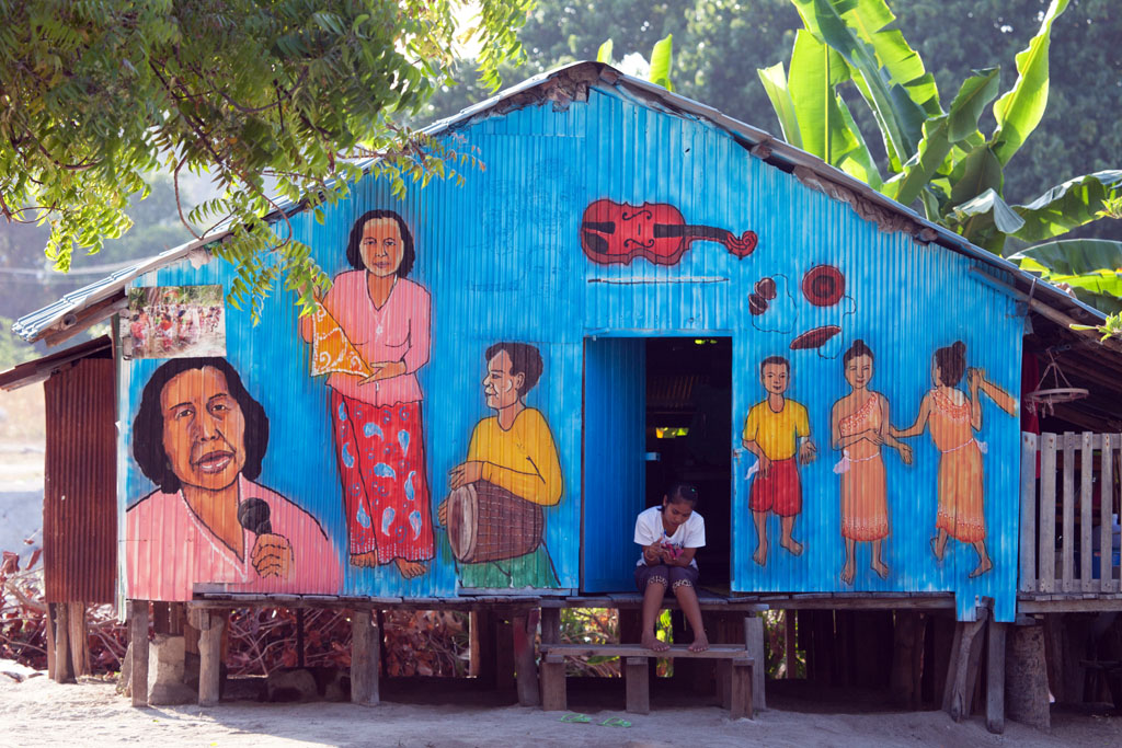 Brightly decorated exterior of home, Tarutao national Park