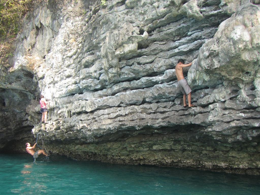 Deepwater solo rock climbing