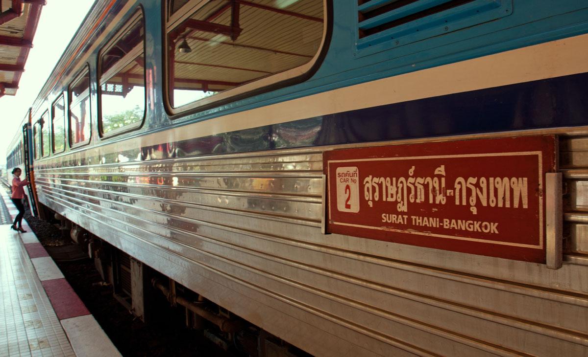 Suratani Express train at Hua Hin railway station.9 January 2018. Copyright John Borthwick
