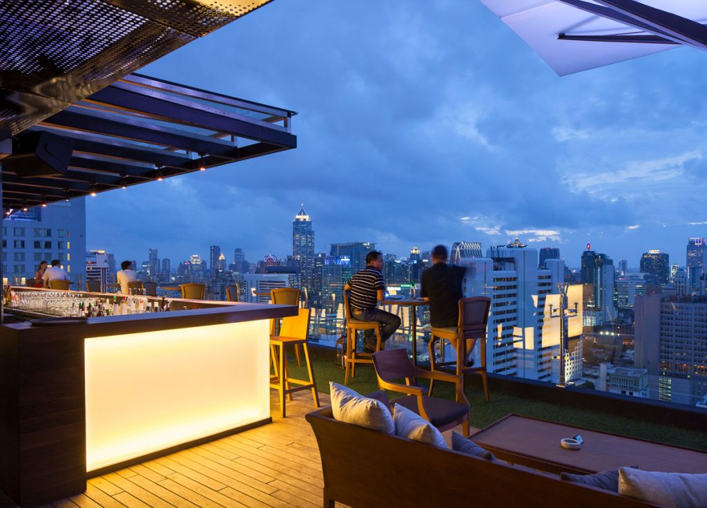 Bangkok Best rooftop Bars Fraser Suites Sukhumvit Above Eleven Rooftop Bar skyline view