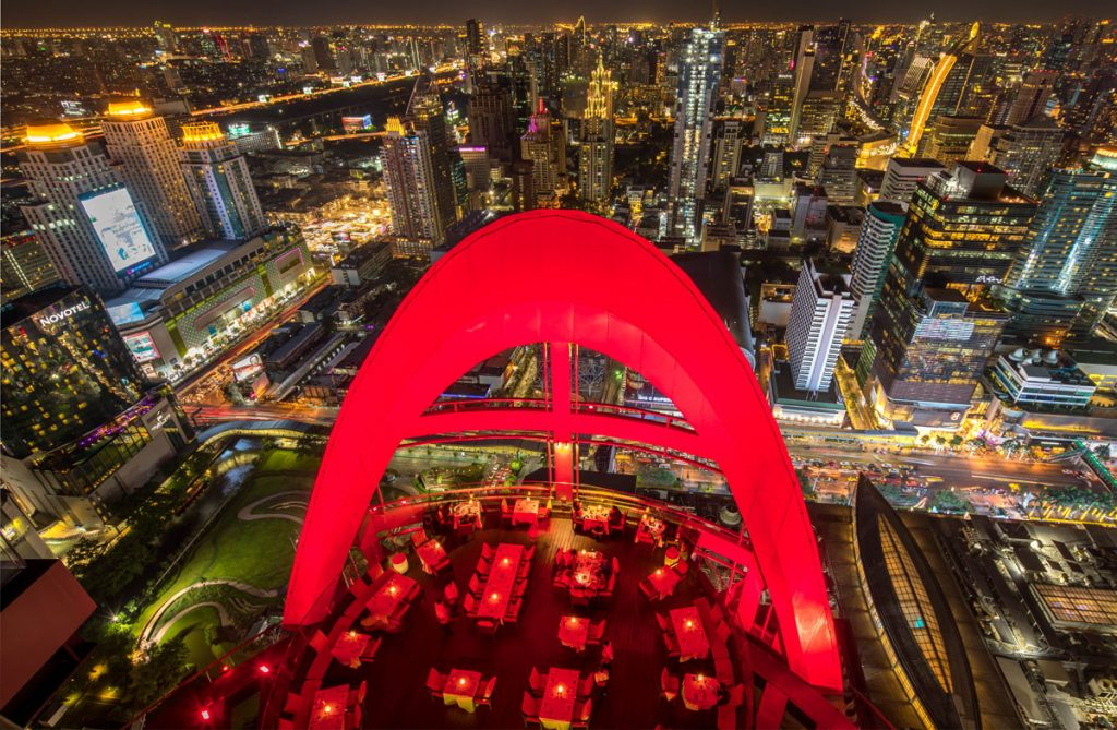 Bangkok Best rooftop bars Centara Grand & Bangkok Convention Centre at CentralWorld - Red Sky arial shot