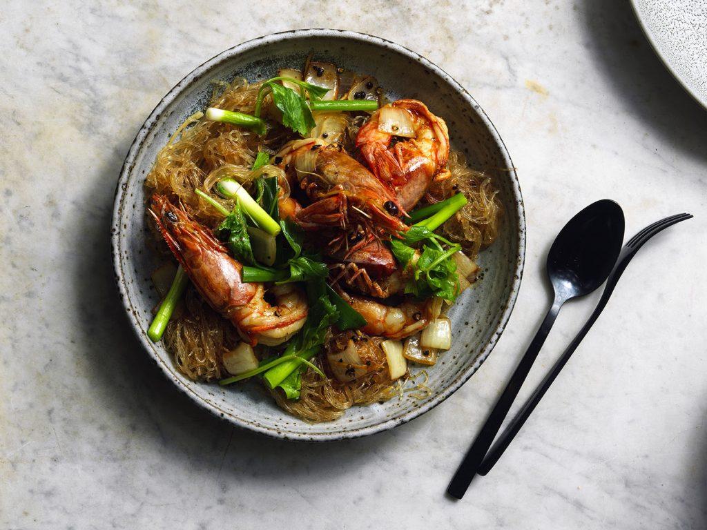 Stir-fried Prawns with Glass Noodles & Ginger
